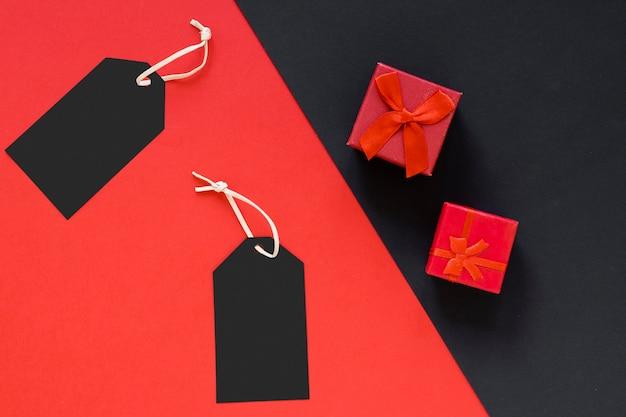 Flat lay black friday tags and gifts