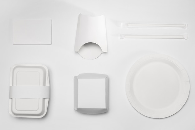 Flat lay blank fast food packaging