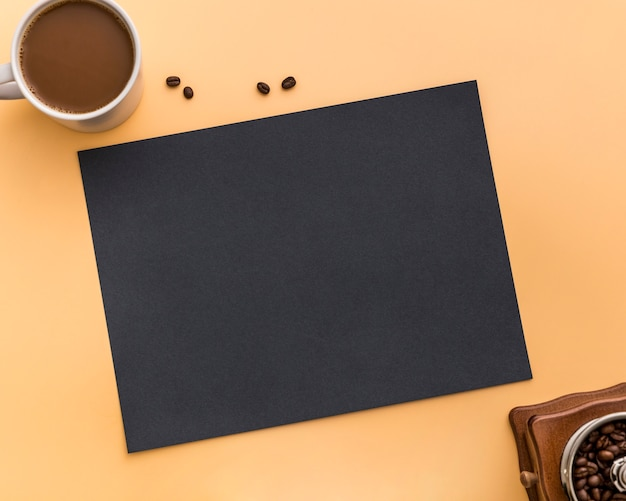 Flat lay of blank menu paper with coffee beans