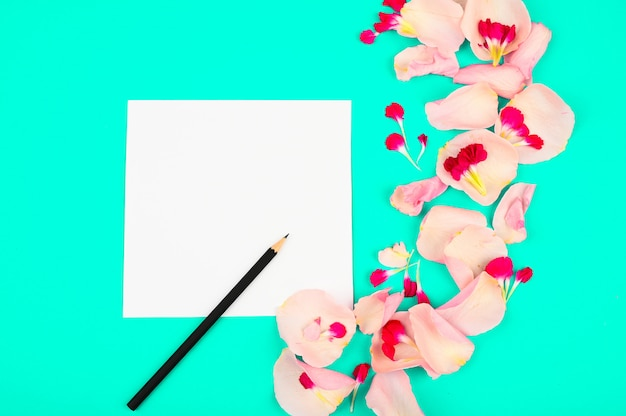 Flat lay blogger or freelancer workspace with a paper card, light pink petals on a color background