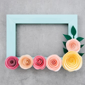 Flat lay blue floral frame