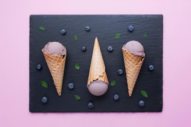 Flat lay of blueberries ice cream