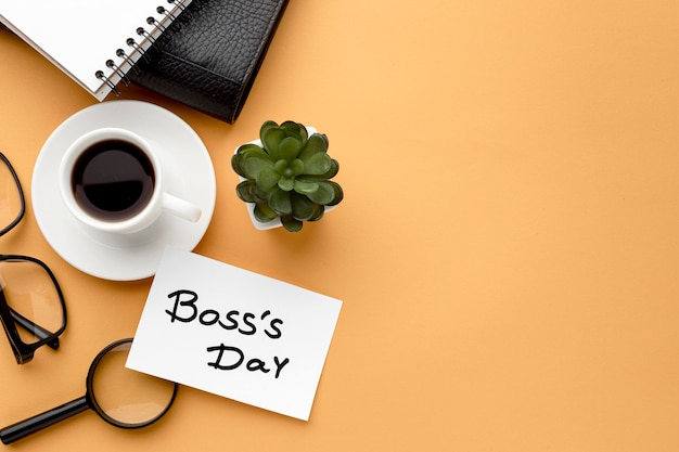 Flat lay of boss day concept with copy space