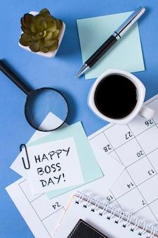 Flat lay boss's day arrangement