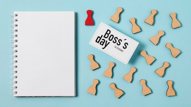Flat lay boss's day composition on blue background
