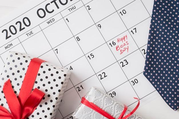 Flat lay boss's day date in calendar