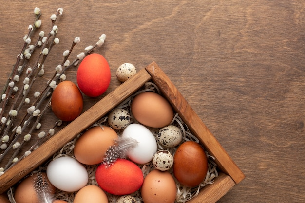 Flat lay of box with eggs for easter and feathers