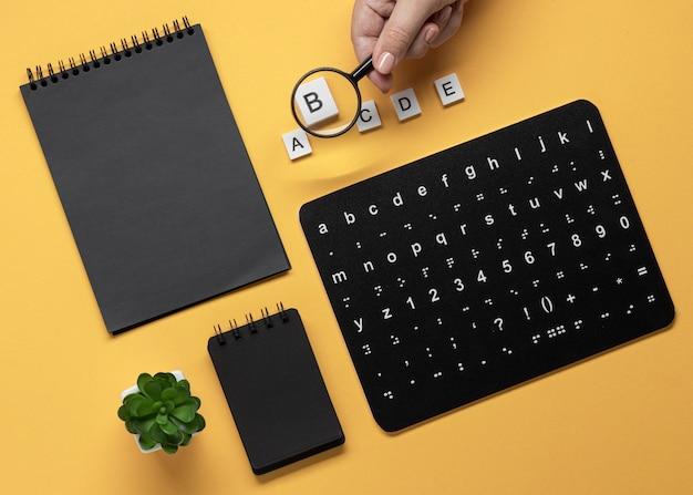 Плоская раскладка алфавитной клавиатуры брайля