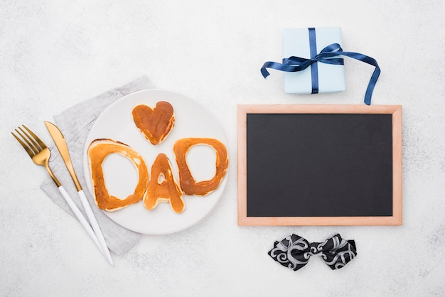 Flat lay bread letters for father's day and gift