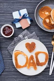 Flat lay bread letters for father's day