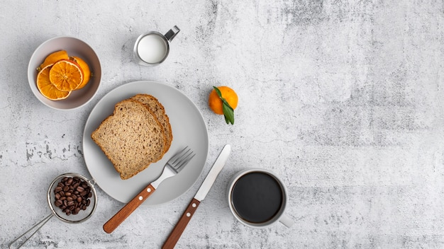 Flat lay breakfast and coffee with copy space