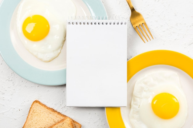 Flat lay of breakfast concept with copy space