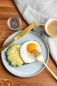 Flat lay of breakfast fried egg on plate with avocado toast and coffee