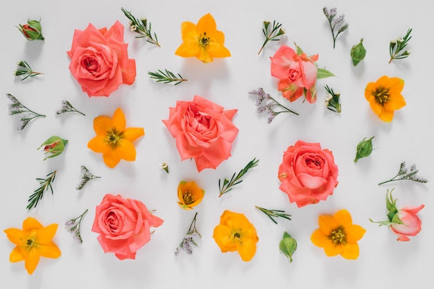 Flat lay bright creative pattern of fresh flowers and leaves natural. flowers pattern.