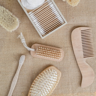 Flat lay brushes and cotton pads arrangement