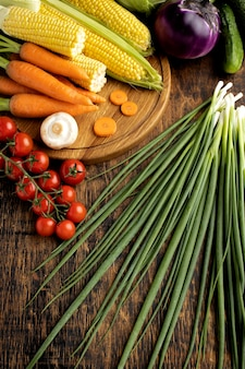 Flat lay bunch of fresh vegetables composition