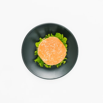 Flat-lay burger on plate