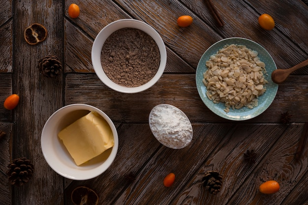 Flat lay of cake ingredients with butter