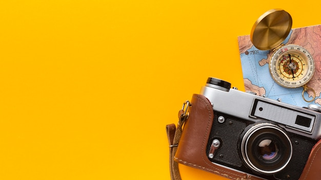 フラットレイカメラとコンパスフレーム