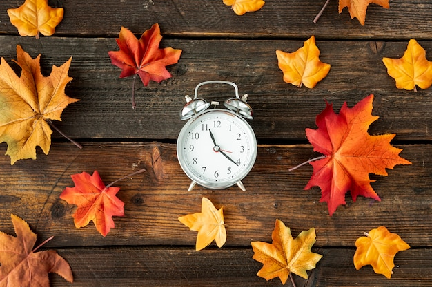 Flat lay centered clock with colorful leaves