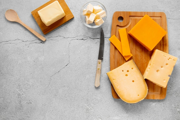 Flat lay cheese assortment