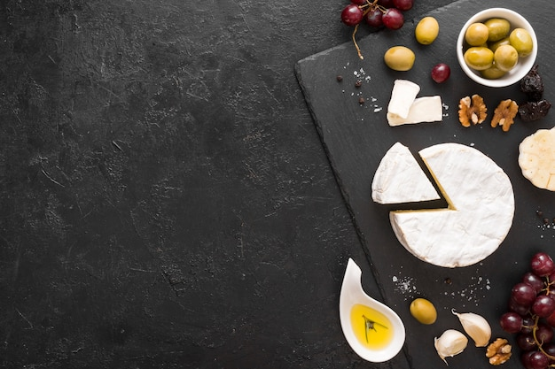 Flat lay cheese composition with copy space