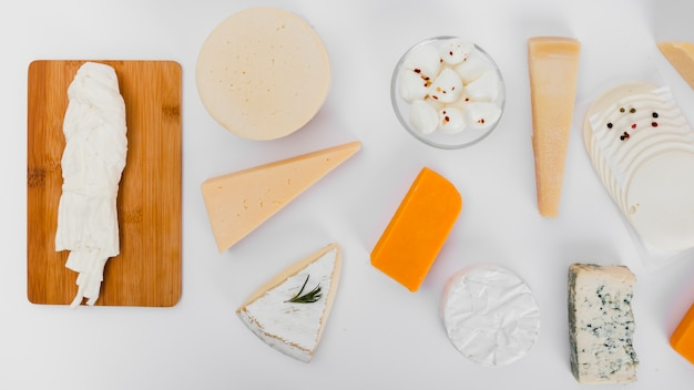 Flat lay cheese composition