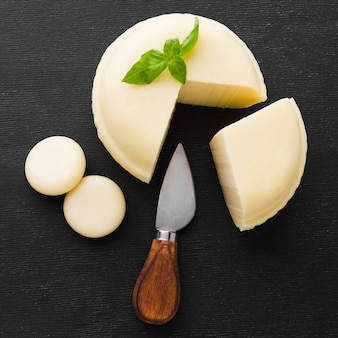 Flat lay cheese with knife