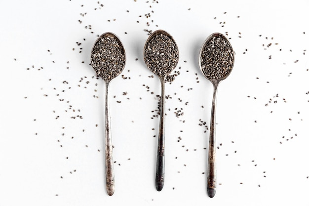 Flat lay of chia seeds concept