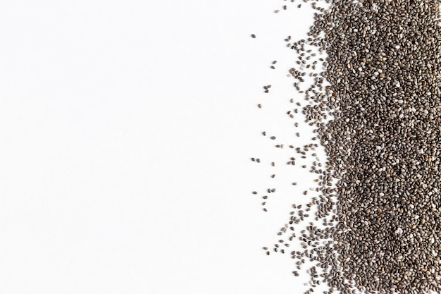 Flat lay of chia seeds with copy space
