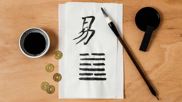 Flat lay chinese ink elements assortment
