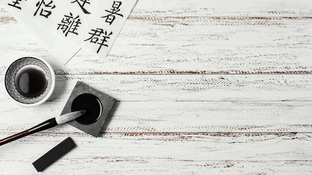 Flat lay chinese ink with copy space