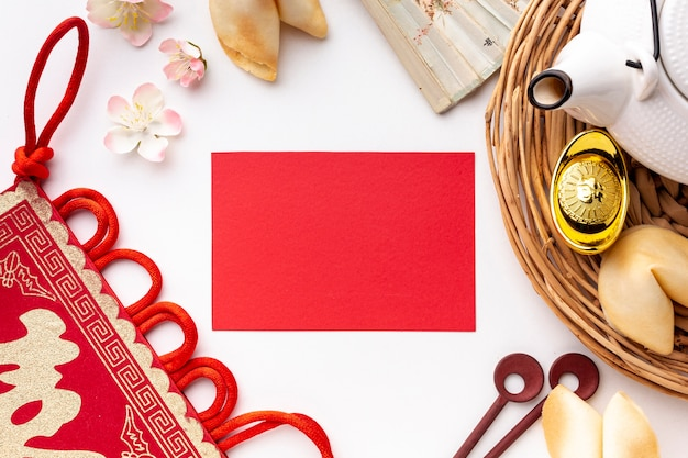 Flat lay chinese new year card mock-up