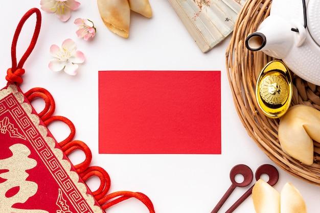 Flat lay chinese new year card mock-up