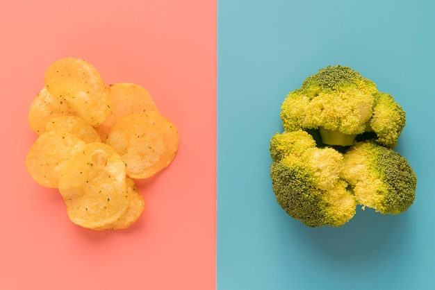 Flat lay chips and broccoli