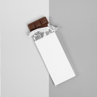Flat lay of chocolate bar packaging
