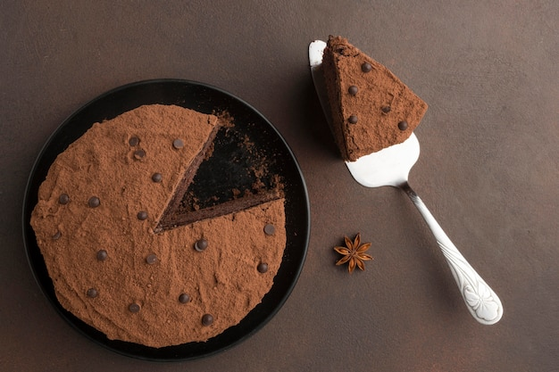 Flat lay of chocolate cake with cocoa powder and spatula