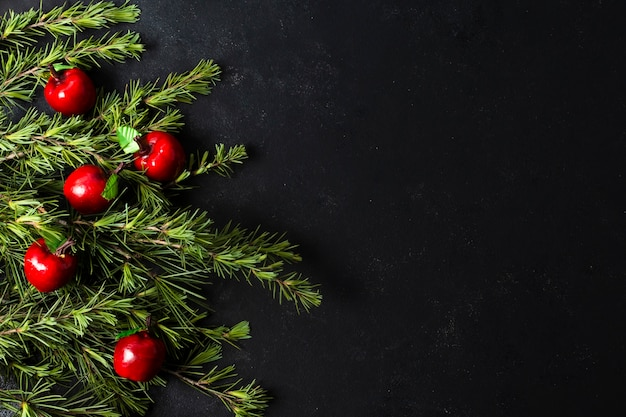 Flat lay christmas decoration with copy space