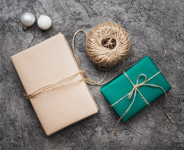 Flat lay of christmas gifts on marble background