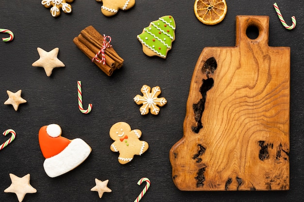 Flat lay christmas gingerbread cookies assortment