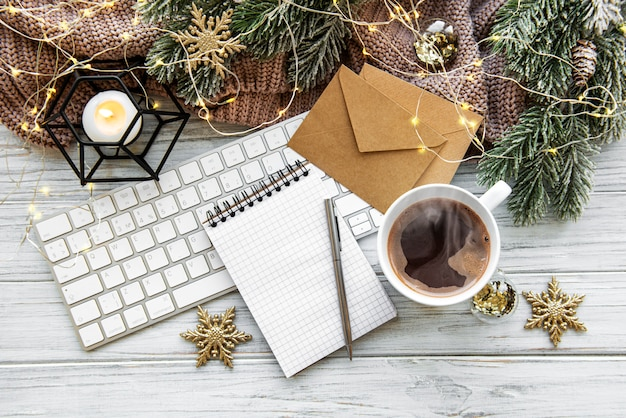 Flat lay christmas home office