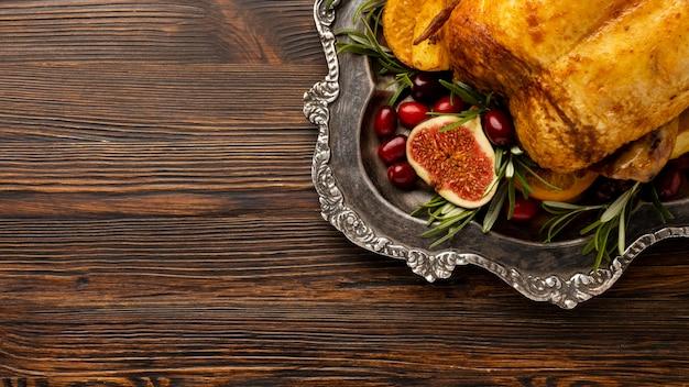 Плоская рождественская еда с копией пространства