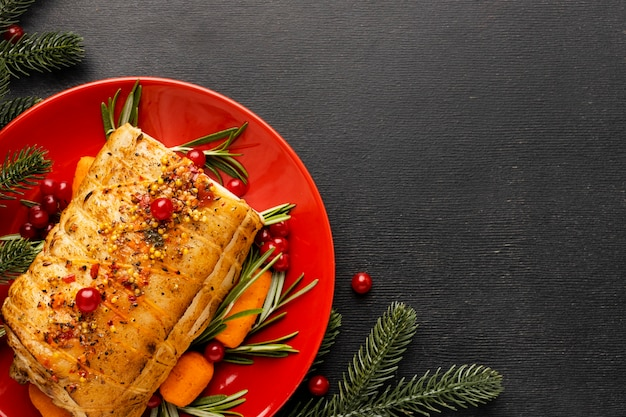Flat lay christmas meal composition with copy space