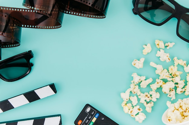 Flat lay of cinema elements with copyspace