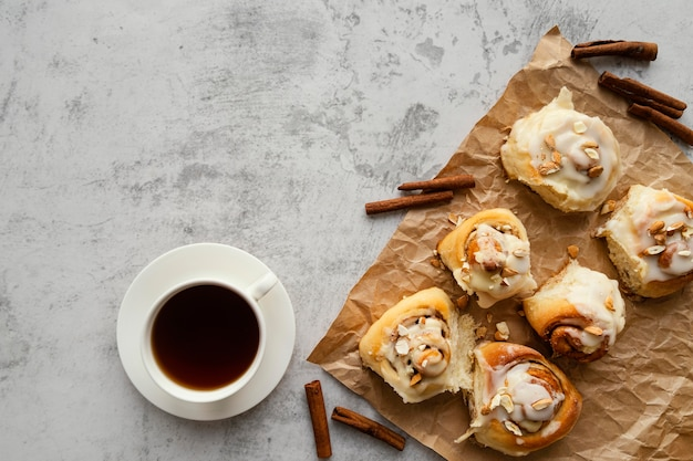 Flat lay cinnamon rolls and coffee