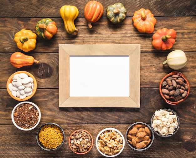 Flat lay circular food assortment with frame