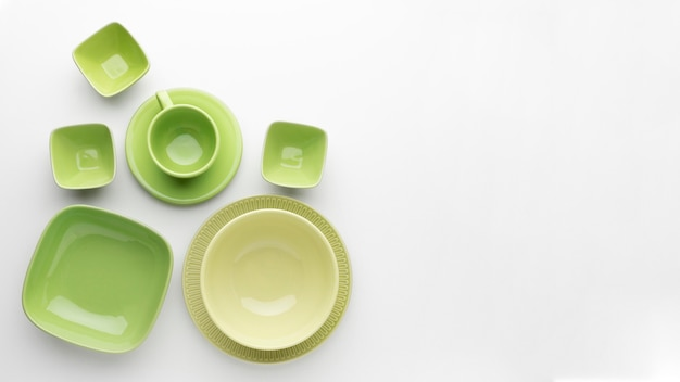 Flat lay clean tableware set with copy sapce