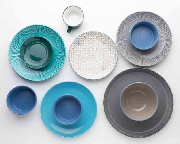 Flat lay clean tableware