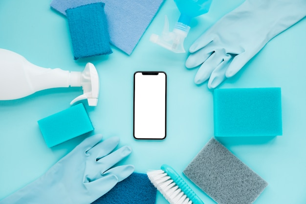 Flat lay cleaning composition with smartphone template