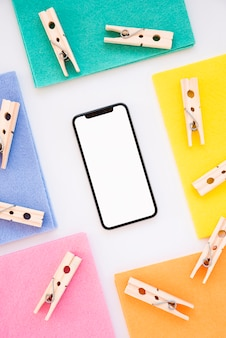 Flat lay cleaning composition with smartphone